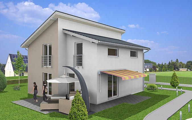 Einfamilienhaus casa 2 massivhaus mit versetztem for Grundriss einfamilienhaus 2 vollgeschosse